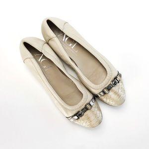 AGL Snakeskin Cap Toe Cream Leather Ballet Flats